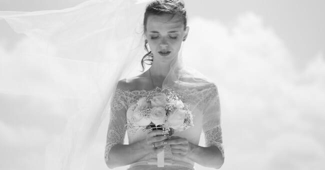 bride looking down