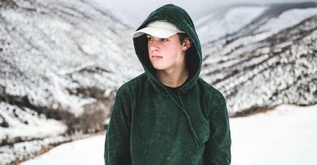 teen boy snow